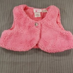 Girls limited too fluffy pink vest size 12M